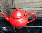 """Enamelware tea pot red hinged lid about 5"""" tall"""
