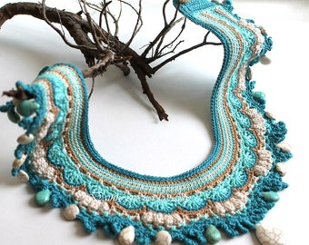 Bohemian Crochet lace Necklace, Collar Turquoise