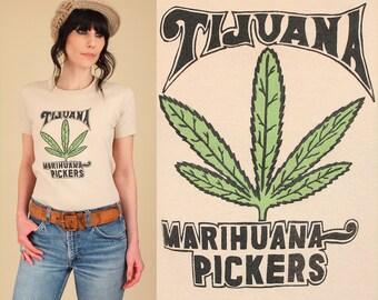 RARE Vintage 70s Tijuana Marihuana Pickers T Shirt // Marijuana Maryjane 420 Pot Leaf Greenbud Mary Jane HiPPiE Stoner Tee T-Shirt TShirt M