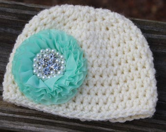 Crochet baby hat, Newborn first photo shoot hat, infant hat, crochet hats, Ivory hat with aqua flower, newborn Photo prop