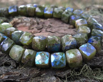 Mystic AB Vesuvianite cube beads 4 inches semiprecious stone beads - 7mm