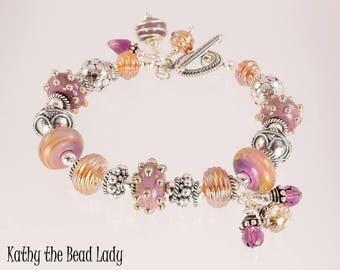 Lampwork Bracelet - Lampwork Lilac Metallic Gold Bali Sterling Silver Bead Bracelet - KTBL