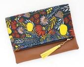 Boho Tassel Clutch in Delecate Floral Print and Tan Vegan Leather and Gold zipper close