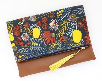 Boho Tassel Clutch in Delecate Floral Print and Tan Vegan Leather and Gold zipper close