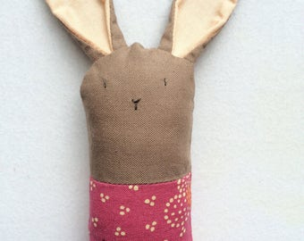 Brown and Floral Bunny Rattle - Soft Baby Toy