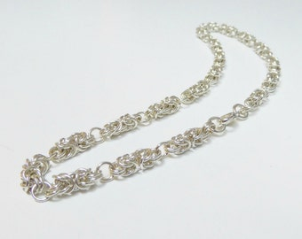 Sterling silver chain necklace,sterling silver chain mail necklace,sterling silver necklace,byzantine link chain mail necklace