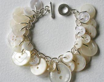 Button Bracelet Clean White and Pearl