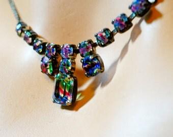 Rhinestone of Multi Colors Necklace, 16 inch Rhinestone Necklace on Silver Chain