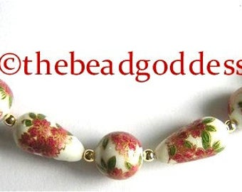 New Pattern Japanese Tensha Beads PINK and GOLD Flowers on WHITE Drops and Rounds