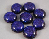 Violet Purple Blue Dichroic Cabochons Fused Glass Rounds #1806