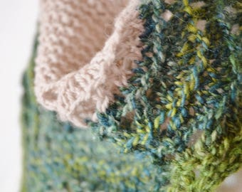 Spring Feverish 2 Mini Kerchief - Neckerchief/Headwrap Hand Knit in Hand Dyed Handspun Wool and Organic Millspun Merino. Blue, Green, Taupe.