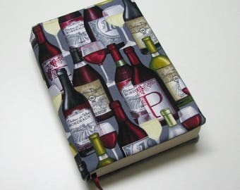 Book cover, TRADE SIZE paperback book cover,  book protector, cotton, padded cover, Wonderful wine!