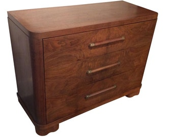 Vintage Vanleigh Art Deco Burled Walnut Dresser