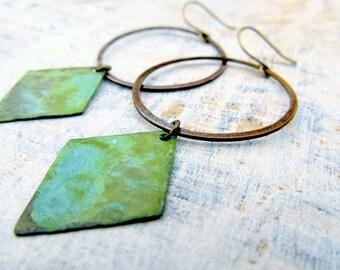 Geometric earrings bohemian jewelry patina hoop earrings