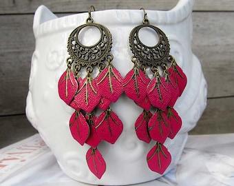 Pink chandelier earrings Leaf earrings unique earrings Gypsy earrings Bohemian earrings Boho Jewelry