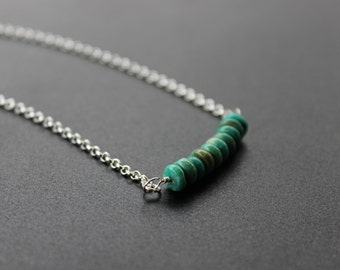 Turquoise Sterling Silver Minimalist Necklace