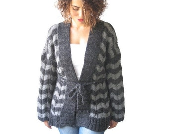 50% CLEARENCE NEW! Chevron - Zig Zag Hand Knitted Cardigan by AFRA