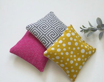 lavender sachet trio set, Polka dot modern urban lavender sachets, 3 fabric aromatherapy lavender sachet set of three, fabric scrap sachets