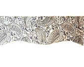 Window Valance/Curtain Valance/Window Topper/Kitchen/Bedroom/Bath/Straight/Curved-LINED-Valance, Navy Cream Paisley Floral Cotton Fabric