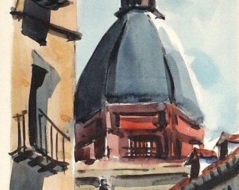 Mid Century Manuel Vicente Mora Madrid Streetscape Watercolor Painting, circa 1968