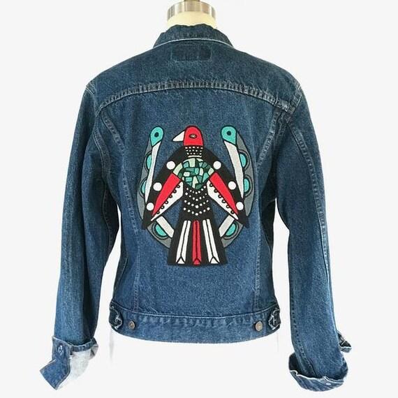 Vintage levis denim jean jacket with chain stitch