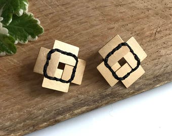 Gold Square Geometric  Earrings, Gold Post Earrings, Square Tribal Earrings, Stitched Earrings, Designer Square Earrings