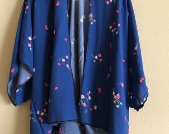 Retro Blue Strawberry and Floral Kimono