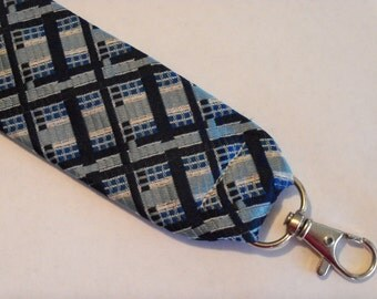 "Recycled Necktie 6.5"" Flat Key Fob Blue Plaid"