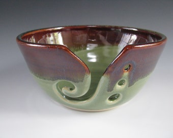 Ceramic Pottery Yarn Bowl Knitting Bowl in Earthy Brown and Spearmint Green