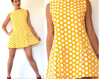 SUMMER SALE / 20% off Vintage 60s Mod Saffron Yellow and White Apple Novelty Print Cotton Dropped Waist Skirted Romper (size medium)