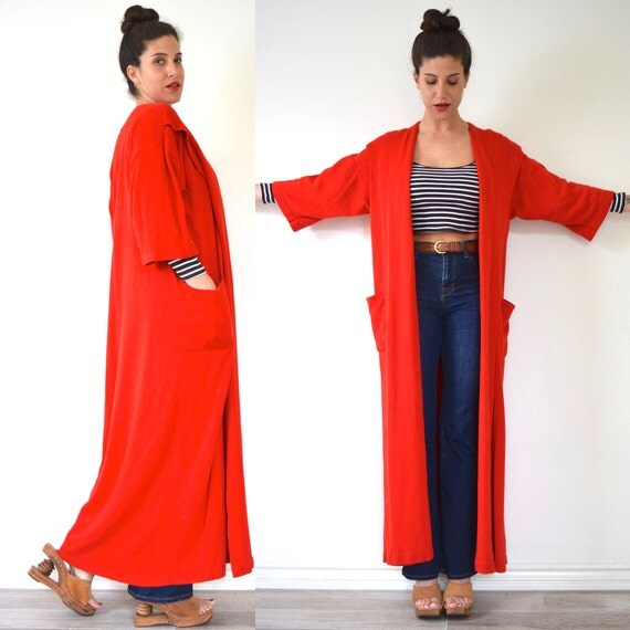 Vintage 80s Mollie Parnis Cashmere and Silk Bright Red Shawl Collar Duster (size small, medium)