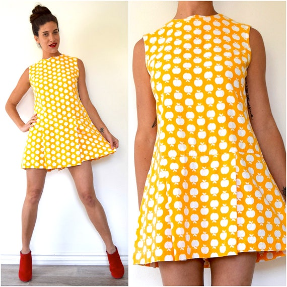 SPRING SALE/ 20% off Vintage 60s Mod Saffron Yellow and White Apple Novelty Print Cotton Dropped Waist Skirted Romper (size medium)