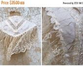 ON SALE 20% Vintage Antique 1890 Victorian French cream silk bridal/wedding capelet /timeworn