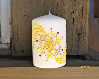 Princess Belle Inspired Henna Style Pillar Candle