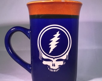 Grateful Dead Etched Coffee or Tea Mug featuring a Steal Your Face