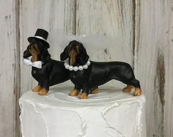 Wedding Cake Topper, Dachshund Animal Cake Topper, Dog Lover Cake Topper,