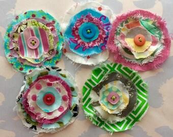 Frayed Fabric Flower Embellishments Set