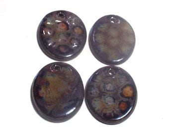 Pendants Set of 4 Stoneware Pottery Beads Charms Brown Turtle Like Designs 2mm Hole Ceramic For Necklace Over 1 Inch Oval For Women Men