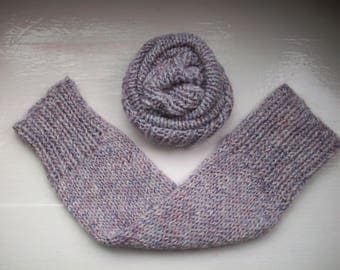 Leg warmers, chunky yarn, warm, white, lilac, purple heather wool alpaca mix