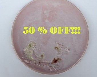 Pink Dinner Plate with glass on SALE