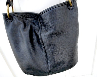 Stone Mountain black leather bucket hobo shoulder bag