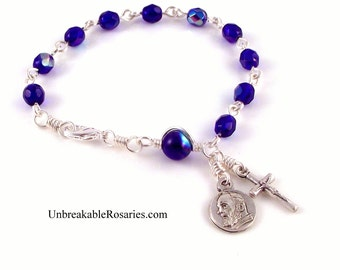 Saint Padre Pio Rosary Bracelet in AB Blue Faceted Czech Glass  by Unbreakable Rosaries
