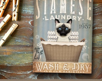 Siamese Cat Laundry Company basket illustration graphic art on canvas by stephen fowler
