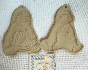 Vintage Raggedy Ann and Andy Set of 2 Brown Bag Collectible Cookie Molds from 1985 and 1986 with Booklet