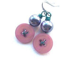 Pink, Lavender and Aqua Vintage Button Dangle Earrings
