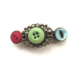 Colorful Vintage Button Barrette