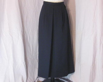 Navy Blue Pleat Front Lined Wool Skirt size 8