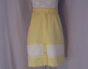 "Vintage Yellow Skirt - 22"" waist by Palm Island - buttondown gathered skirt"