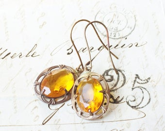 Citrine crystal earrings jewel vintage style glass jewel yellow oxidized brass glamour art nouveau dangle antique style topaz