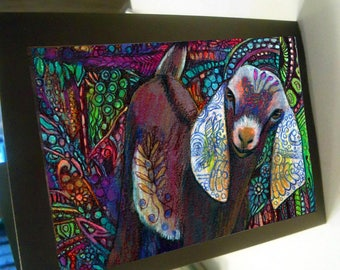 greeting card zentangle Nubian goat kid colorful blank card
